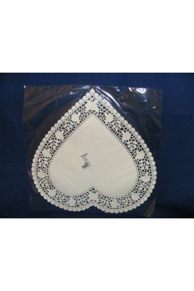 Szív csipke 32cm fehér kiskiszerelés 12 db/cs