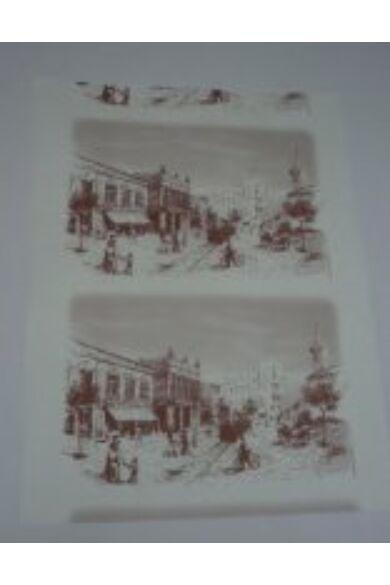 Fehér finom csomagoló ív városképes több színű                     60x80 cm