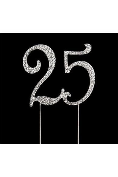 Évfordulós számok  strasszköves beszúró 25 szám 7 cm