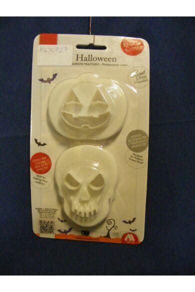 Kiszúrókészlet műanyagból  2 db  HALLOWEEN figura, koponya és tök