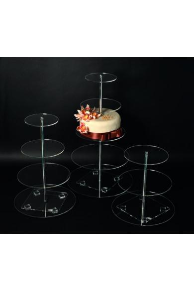 Torta állvány 5 emeletes plexi lapokkal