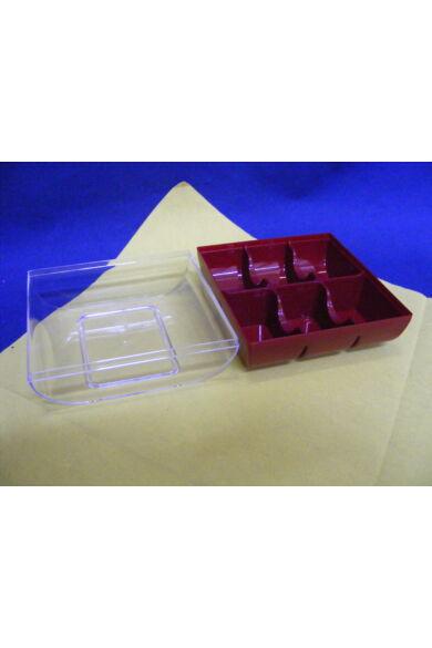 Műanyag Macaron doboz 10 x 9,5 x 6 cm policarbonát 6 db-os rubin vörös