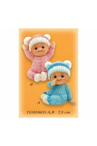 Keresztelői dísz TG018655 ülő baba kék vagy rózaszín sapkás