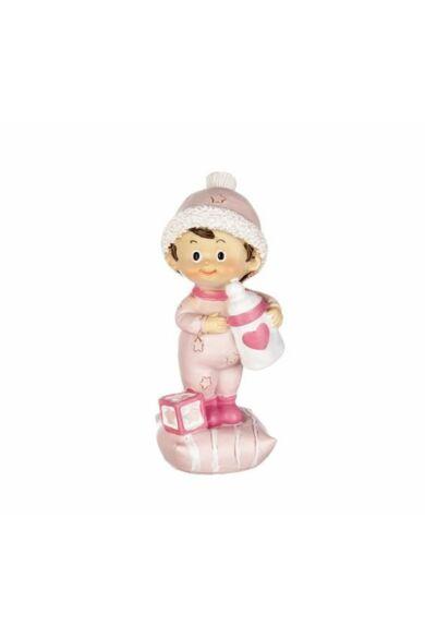 Kereszteloi dísz álló baba kék vagy rózsaszín 6 cm